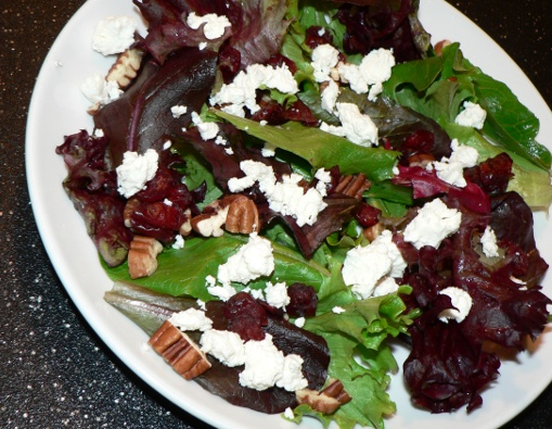 Mouthwatering {and Healthy!!} Valentine's Dinner Recipes | Kara's Party Ideas | Greens With Goat Cheese, Cranberries and Pecans