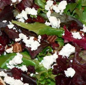 Greens With Goat Cheese, Cranberries and Pecans