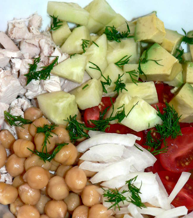 Healthy, easy to make, delicious Rotisserie Chicken Salad. Use leftover Rotisserie chicken to make this healthy, delicious salad #cooking #recipes #healthy #chicken